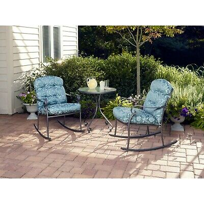 3-Piece Rocking Outdoor Bistro Set Patio Furniture 2 Chairs Table Garden Pool