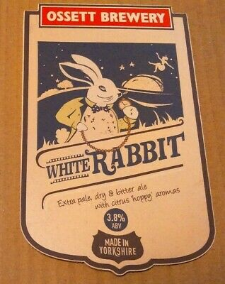 Beer pump clip badge front OSSETT brewery WHITE RABBIT cask ale yorkshire