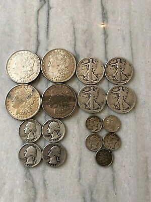 "Lot:(17)US 90% Silver Coins-$7.50 Face Value-""Junk Silver"",pre-1965 & Morgan  $1"