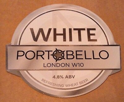 Beer pump badge clip PORTOBELLO brewery WHITE cask ale pumpclip front London