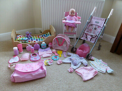 Baby doll, baby doll bed, baby doll high chair, baby doll buggy and accessories