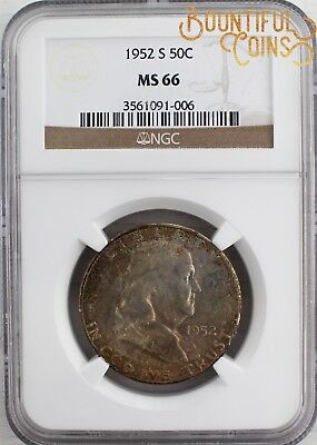 ~1952 S NGC MS 66 Franklin Half Dollar 50C Mint State Fifty Cents Toned (L74)~