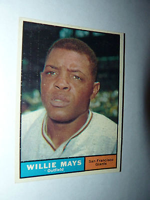 1961 WILLIE MAYS Topps #150 NM SEY HEY 55 yr old SF GIANTS Baseball Card WOW!!