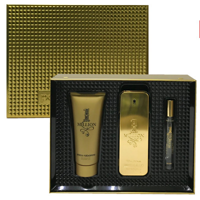 Paco Rabanne 1 million 3.4 Oz Eau De Toilette Spray  3 pc Gift Set men