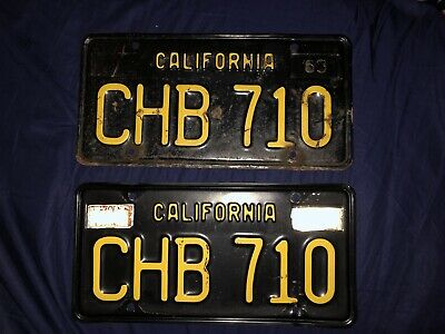 1960S CALIFORNIA DMV Clear YOM Black/Yellow License Plates