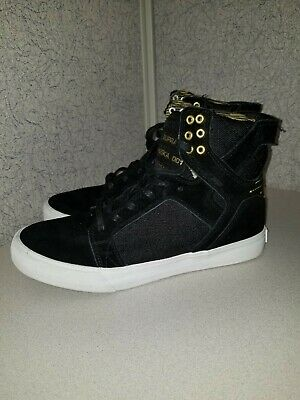SUPRA SKYTOP II Mens Black Leather High Top Lace Up Sneakers Shoes ... bd65de1cfba