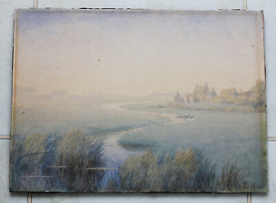 Lovely atmospheric original watercolour 'Misty morning river farm' by F D How