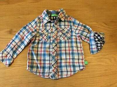 Boys Little Bird Jools Oliver Mothercare Checked Lined Gingham Shirt 12-18 Month
