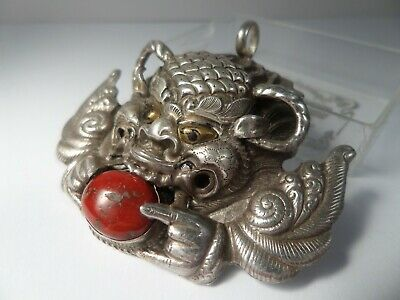 Vintage, Chinese, Silver Repousse Foo Dog Pendant - Signed 925. Unknown Period.