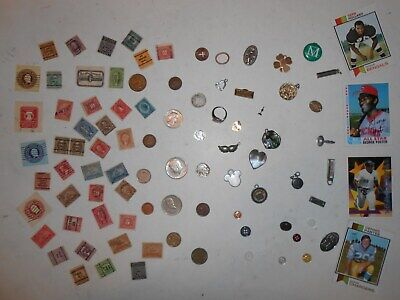 JUNK DRAWER LOT_Jewelry ITEMS, OLD U.S.A.Coins 1943 Mercury Dime, 1889 Cent