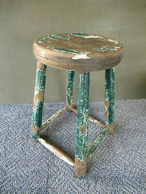 """Antique Stool Primitive Vintage Wood 19"""" Tall White & Green Paint, 4-Leg Stand"""