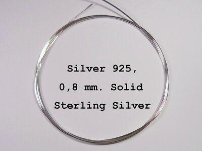 Argento /Silver 925, Sterling, Wire Round 0 ,8 mm. / 1 Meter Long ~Half Hard~