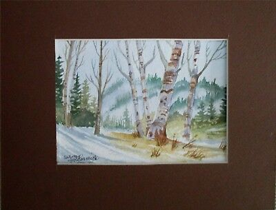 """Lovely Autumn Birch Trees Scene 7"""" X 5"""" matted original,signed by artist"""