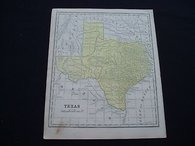 1853 Burgess Map State of Texas -Population Only 213,000- Rare Genuine Antique
