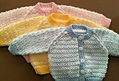 Hand knitted striped baby cardigan. 3-6 months.