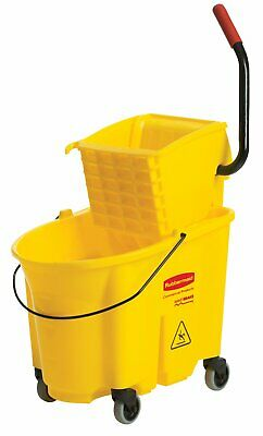 New Rubbermaid 7580-88 WaveBrake 35 QT Side-Press Bucket and Wringer Yellow