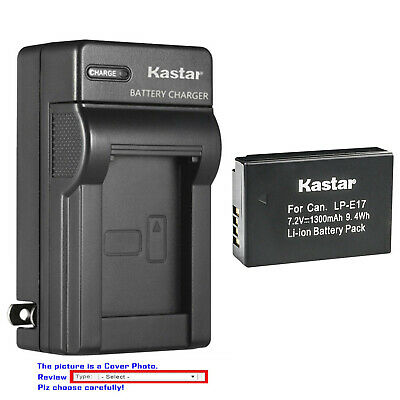Kastar Battery AC Wall Charger for OEM Canon LP-E17 Genuine Canon LC-E17 LCE17E
