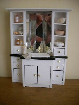 Dollshouse Miniature ~ WHITE & NATURAL ~ Bathroom Unit & Accessories