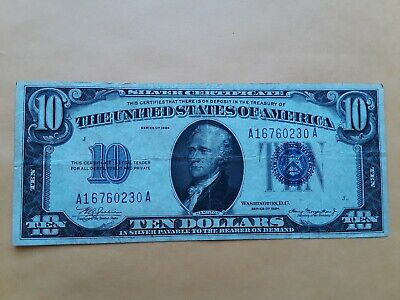 1934 $10 Ten Dollars Blue Seal Silver Certificate Currency
