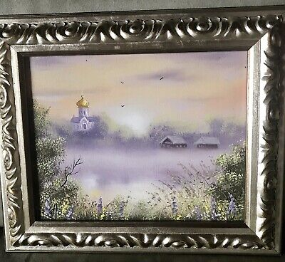 "Beautiful Framed Painting Of Old Church And Village. Signed. 10""x8"". Frame 2"" W"