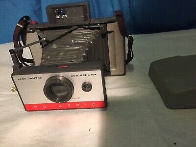 1960's Polaroid Land Model 104 Camera With Original Cover And Strap