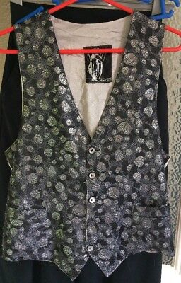 Sparkly 'After Eight', Black & Silver Lurex/viscose Evening Waistcoat, M