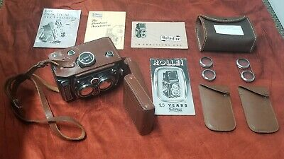 Vintage Rolleiflex 120 Camera F 3.5 Lense With Manuals, Case, & extras!