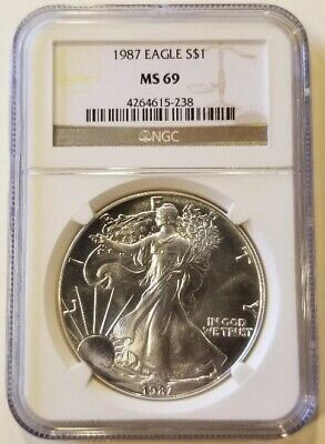 1987 1oz American Silver Eagle Graded NGC MS69 Cert# 4264615-238