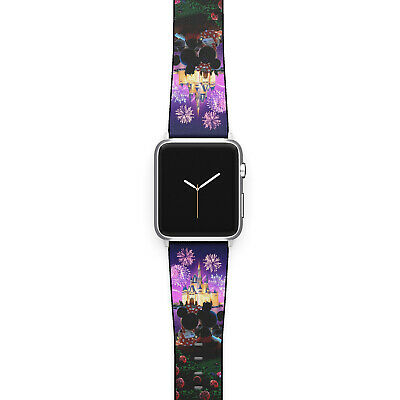 Minnie Mouse Disney Apple Watch Band 38 40 42 44 mm Fabric Leather Strap 02