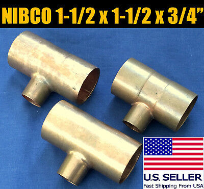"""NEW NIBCO 1 1/2 x 1 1/2 x 3/4 """" inch CxCxC COPPER REDUCING TEE PLUMBING FITTING"""