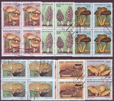 Republique Togolaise Mushrooms Blocks of 4 From Year 2000 Neat Used ( Togo )