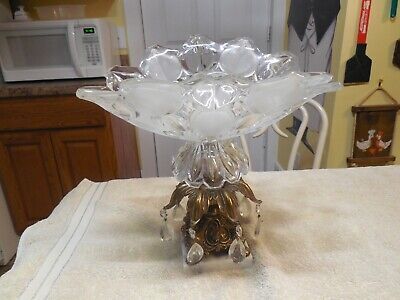 "Vintage 1950's?  12"" Heavy Cut Crystal Glass Compote Marble Base - 7 Prisms"