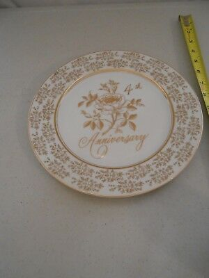 Vintage 4Th Anniversary Plate Norcrest Fine China Made Japan Vg Rose Second