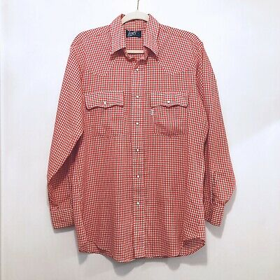 Vintage LEVIS Plaid Micro check Western Shirt Mens Large L Pearl Snap Buttons