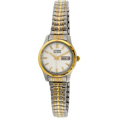 Citizen Eco-Drive Women's White Dial Two-Tone 25mm Watch EW3154-90A