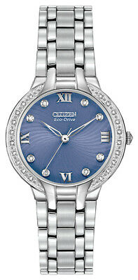 Citizen Eco-Drive Women's Diamond Accents Blue Dial 29mm Watch EM0120-58L