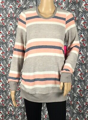 NWT Two Hearts Maternity Women's Multicolored Striped Sweater Top Size Large