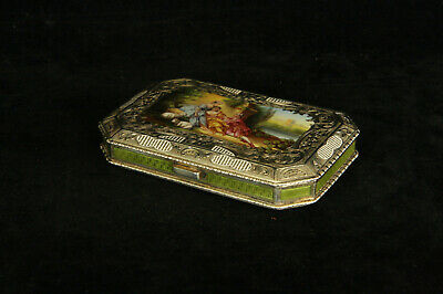 Lovely Antique Austrian 935 Sterling Silver Enameled Portrait Box Green & White