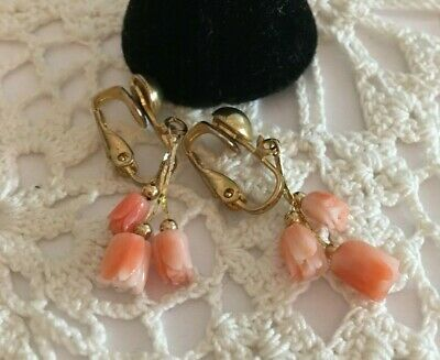 Vintage 70's  Angel Skin Coral Hand Carved Gold Tone Clip On Earrings 1.5""