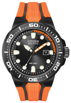 Citizen Eco Drive Men's Scuba Fin Black Dial Orange Poly 46mm Watch BN0097-11E