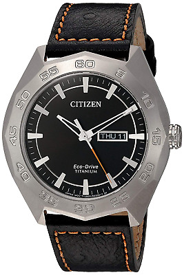 Citizen Eco-Drive Men's Titanium Case Black Leather Strap 44mm Watch AW0060-03E