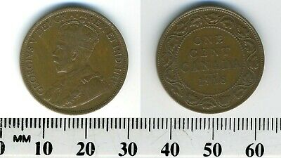 Canada 1918 - 1 Cent Bronze Coin - King George V - WWI mintage - #3