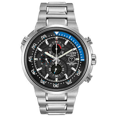 Citizen Eco-Drive Men's Endeavor Chronograph Black Dial 46mm Watch CA0440-51E