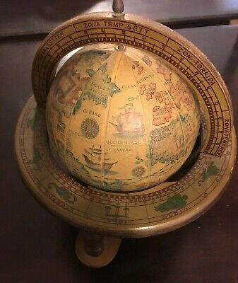 "VINTAGE OLD WORLD  DESK TOP WOOD GLOBE - 11"" High"