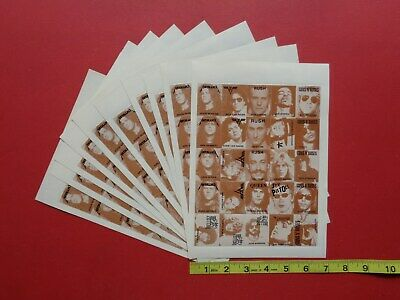 GUNS n ROSES,RUSH,and Dead Musicians,  2 color Rock and Roll STAMPS (10 sheets)