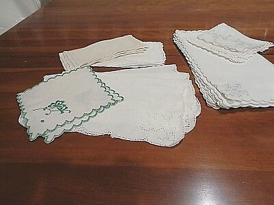 Antique collection of 26 Cocktail napkins mismatched - beautiful