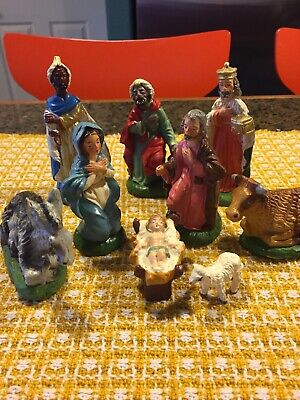 Vintage Hand Painted Italy Nativity Set Nine Pieces Excellent Condition