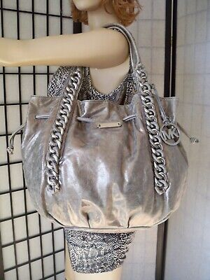 4ece018af309 MICHAEL KORS Large Died Silver Leather Drawstring Tote Shoulder Bag CHIC!