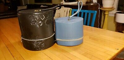 2 vintage Black &blue Vinyl Wig Hat Case Carrier Box 50s 60s ?