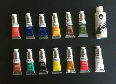 Winsor & Newton Set of 13 Winton Oil Paints Using Bob Ross Wet on Wet Method